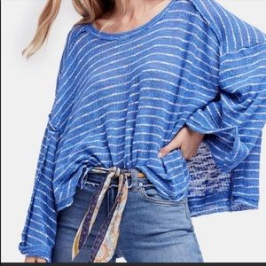 We the free hacci blue white striped top